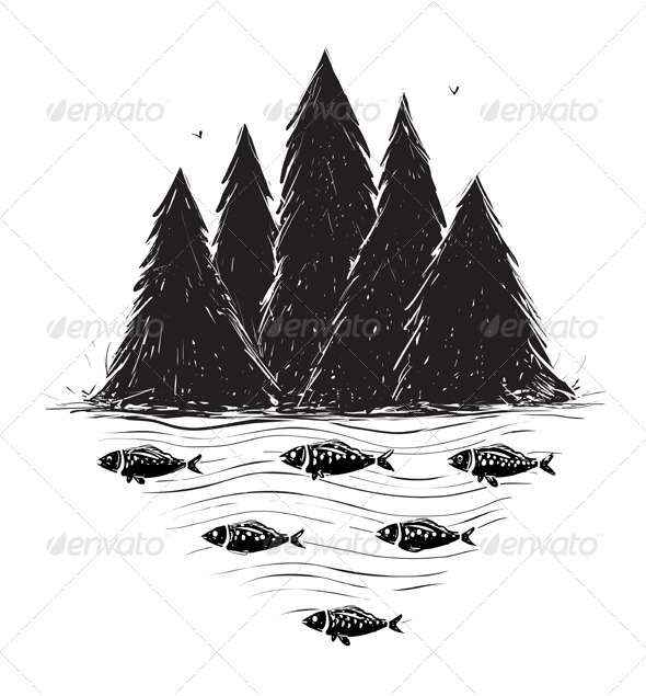 GraphicRiver River Bank with Forest and Fish 5246566