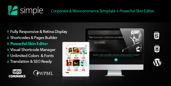 ThemeForest Simple Woocommerce Corporate & Skin Editor Pro 5247936