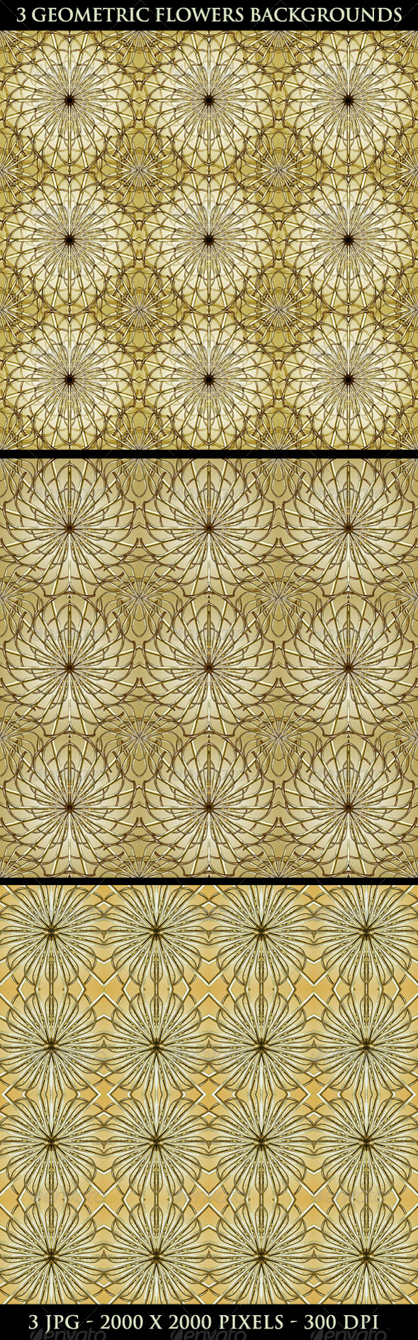3 Geometric Flowers Backgrounds - Flourishes / Swirls Decorative