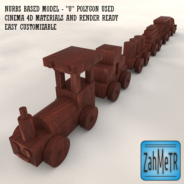 3DOcean Wooden Train Car Toy Nurbs Based 5249662