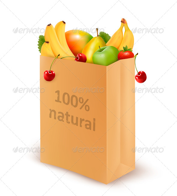 GraphicRiver Paper Bag Full of Fruits 5250375