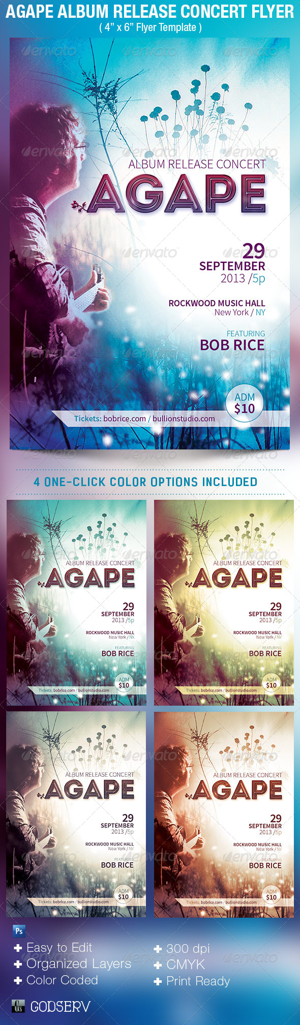 Agape Album Release Concert Flyer Template  - Concerts Events