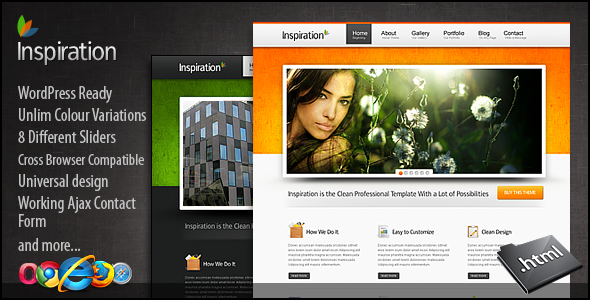 Inspiration premium xhtml css template free download