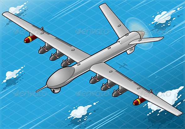 GraphicRiver Isometric Drone Airplane Flying with Bombs 5251722