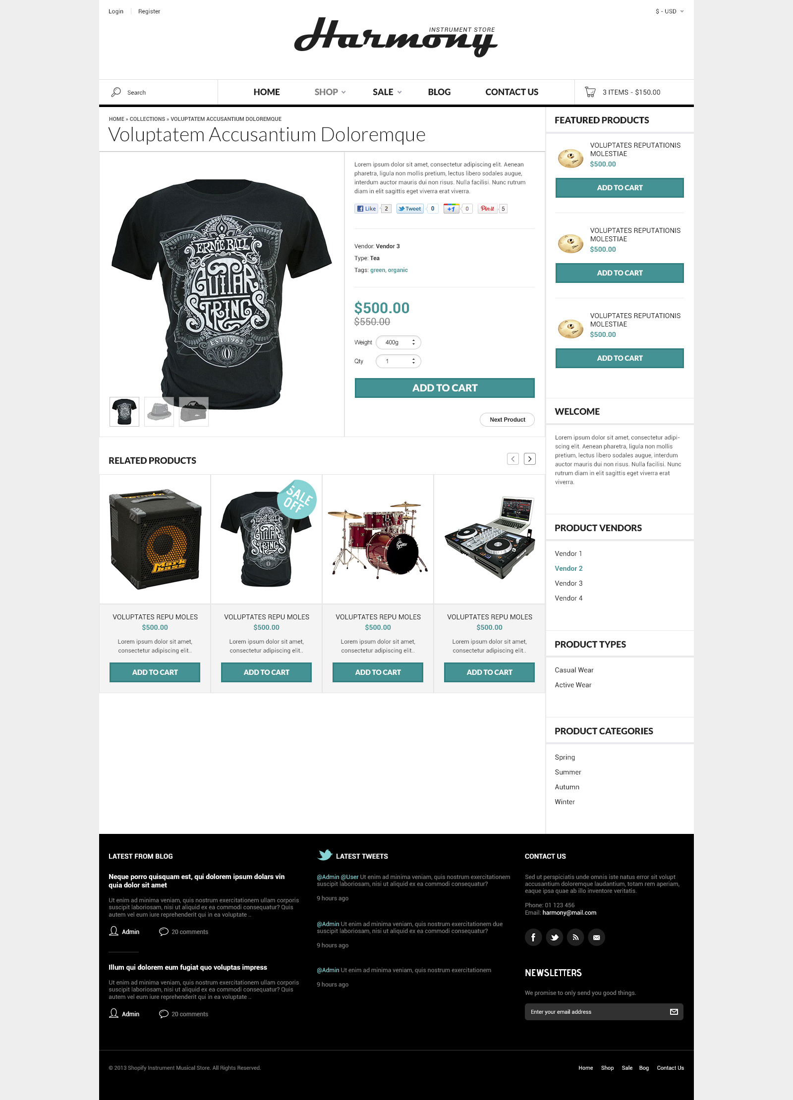Responsive Shopify Theme - Instruments Design