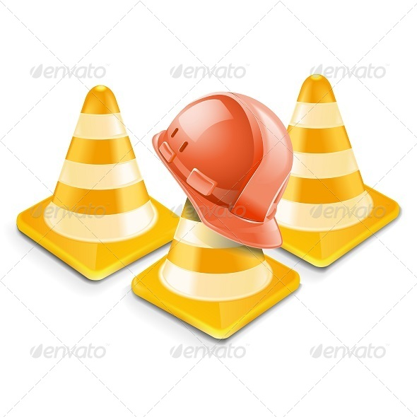 GraphicRiver Vector Traffic Cones with Helmet 5252237