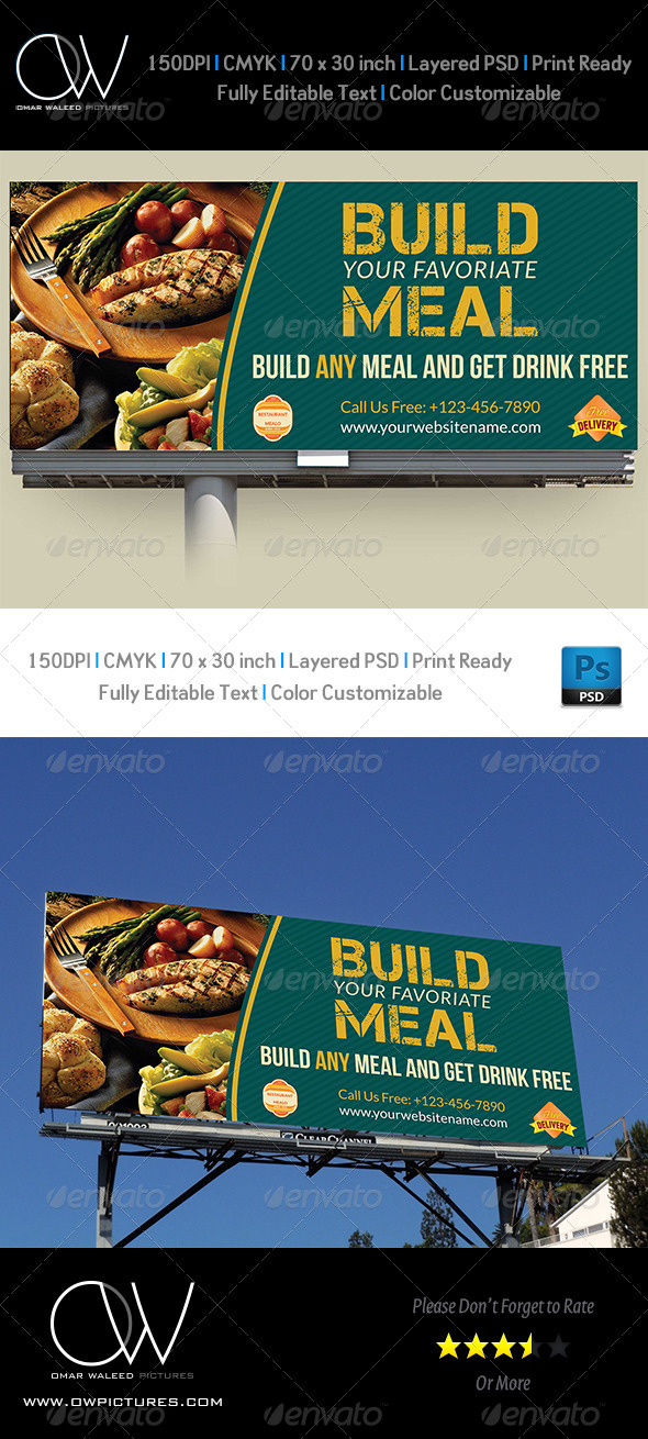 GraphicRiver Restaurant Billboard Template 5252836