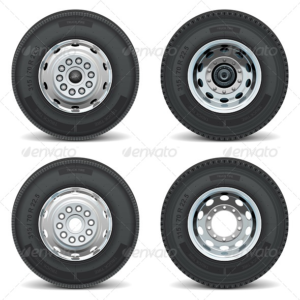 GraphicRiver Vector Truck Tire Icons 5255058