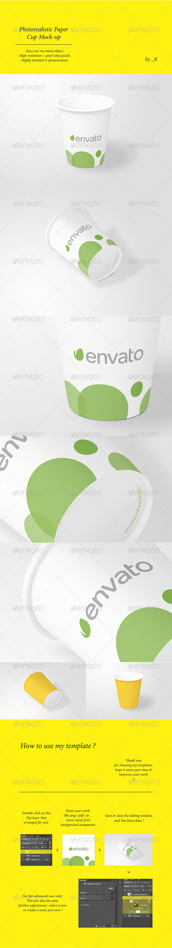 Photorealistic Paper Cup Mock-up - Food and Drink Packaging