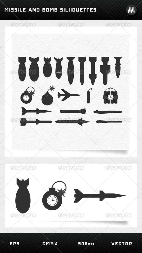 GraphicRiver Missile and Bomb Silhouettes 5255389