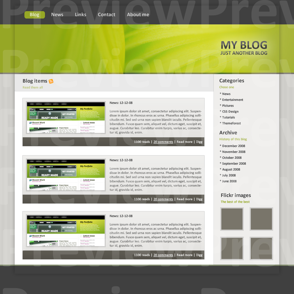 Blog Theme green