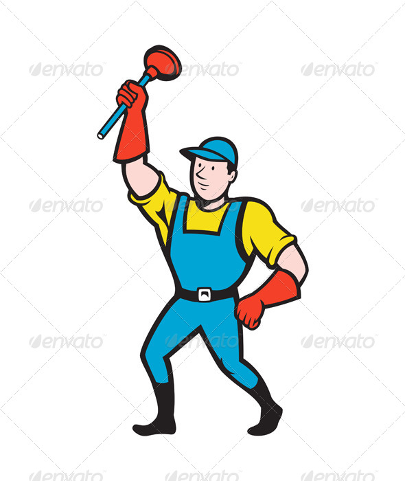 GraphicRiver Super Plumber Wielding Plunger Cartoon 5257101