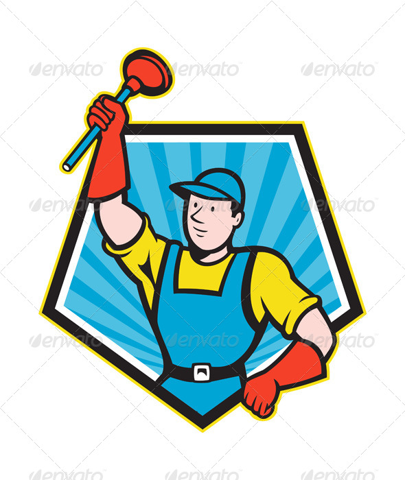 GraphicRiver Plumber Wielding Plunger Pentagon Cartoon 5257102