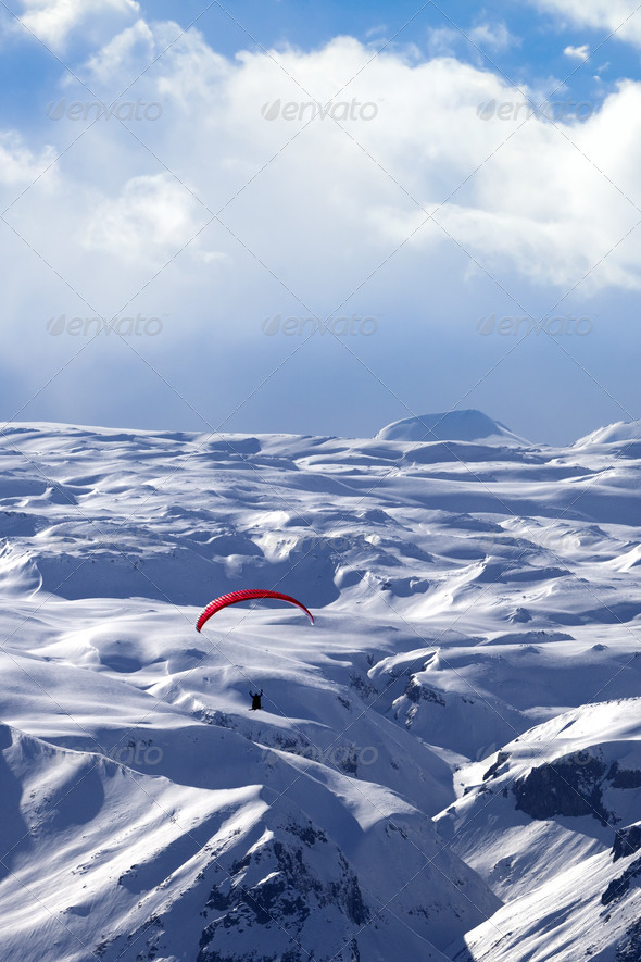 Speed flying in winter mountains - Stock Photo - Images
