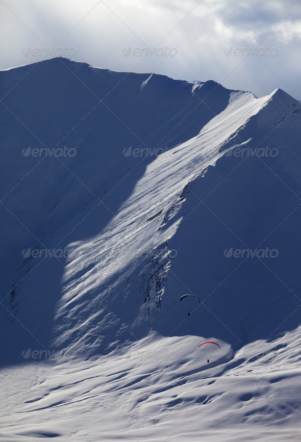 Speed riding in evening mountains - Stock Photo - Images