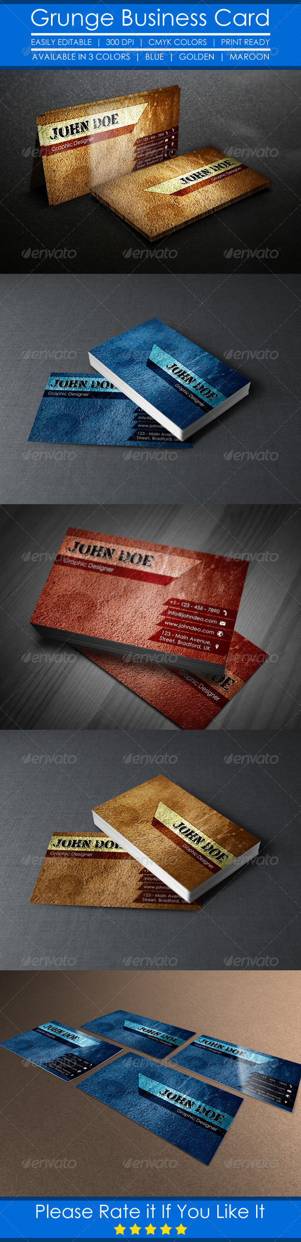 GraphicRiver Grunge Business Card 5219146
