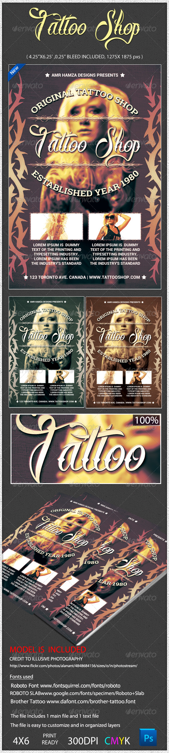 GraphicRiver Tattoo Salon Shop Flyer Poster 5218976