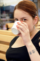 Young woman portrait drinking coffee - PhotoDune Item for Sale