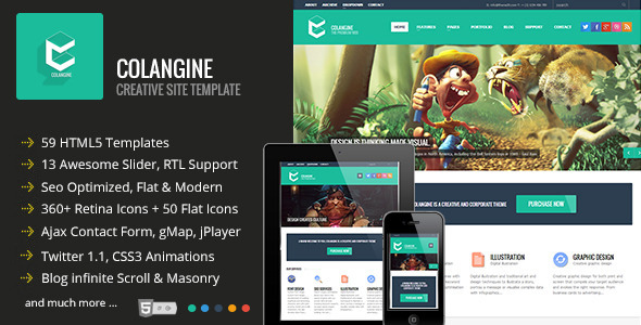 ThemeForest Colangine Creative Flat HTML5 Template 5214550