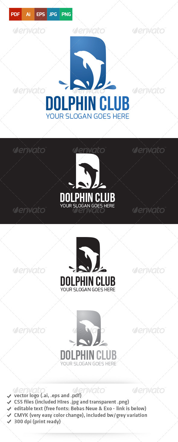 GraphicRiver Dolphin Club Logo 5265745