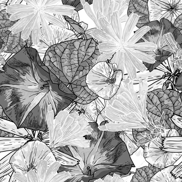 GraphicRiver Seamless Vintage Black and White Floral Background 5266734