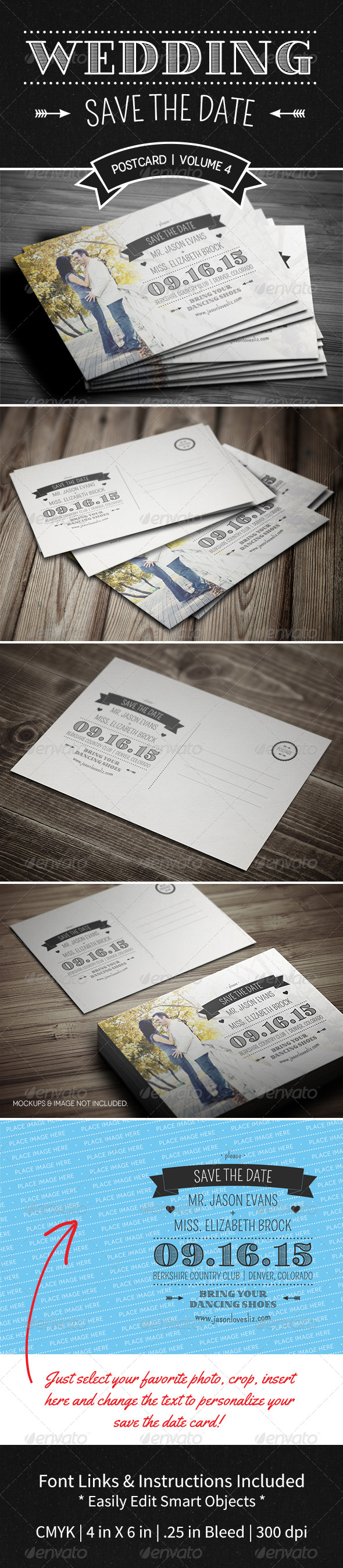GraphicRiver Save The Date Postcard Volume 4 5267097