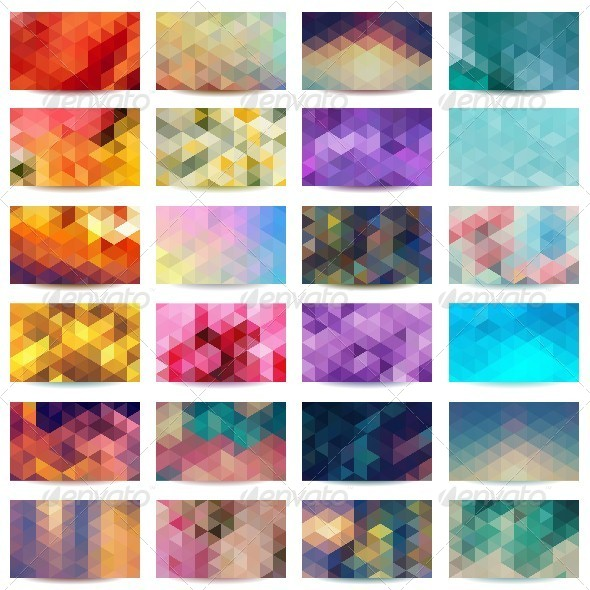 GraphicRiver Set of Colorful Geometric Abstract Business Cards 5267843