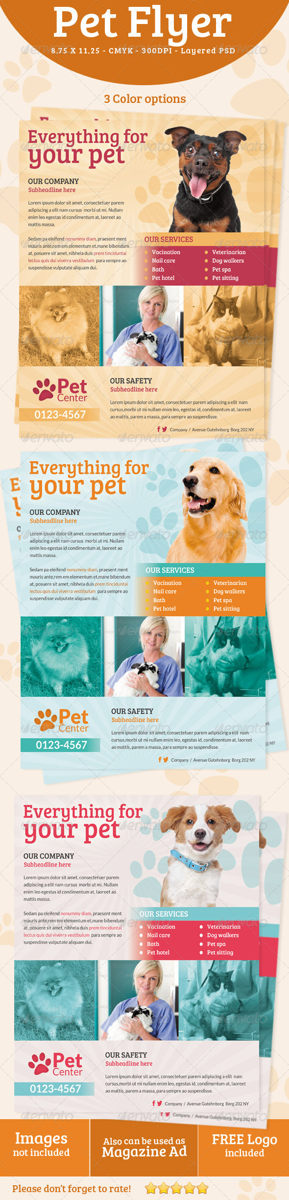 GraphicRiver Pet Services Flyer Print ad 5228399