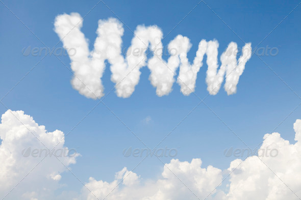 WWW concept text in clouds - Stock Photo - Images