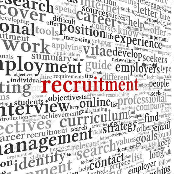 Recruitment concept in word tag cloud - Stock Photo - Images