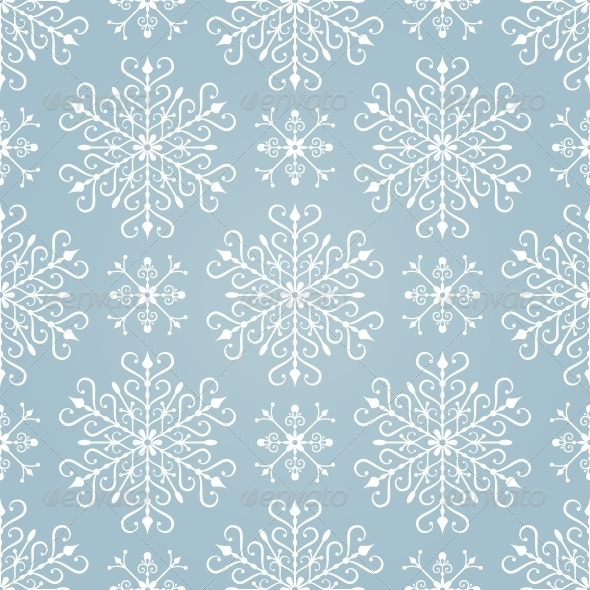 GraphicRiver Seamless Pattern with Stylized Snowflakes 5269586