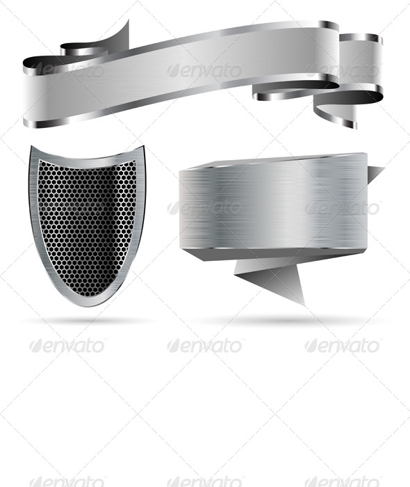GraphicRiver Metal Shield Ribbon Banner 5270365