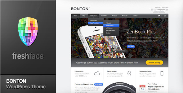 ThemeForest BONTON Retina Ready Responsive WordPress Theme 5229620