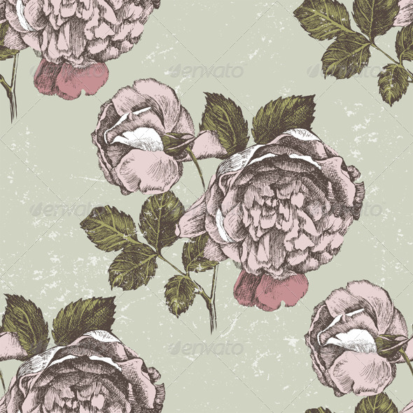 GraphicRiver Retro-Styled Roses Ornament 5272391