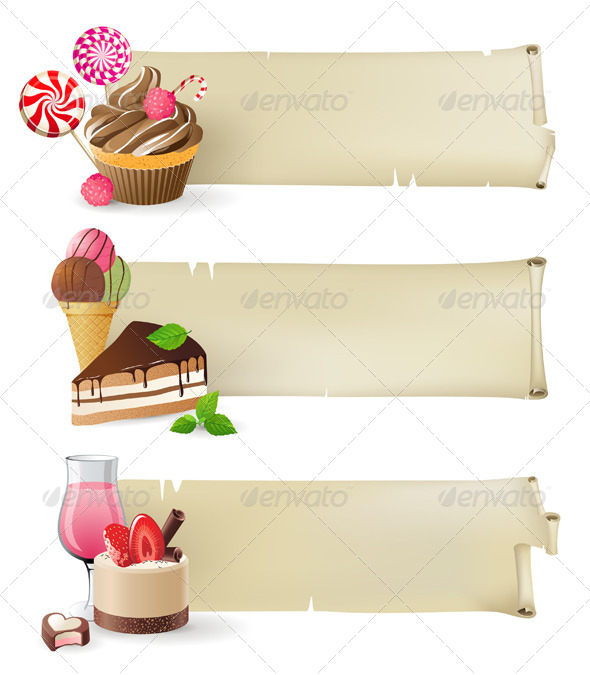 GraphicRiver Banners with Sweets and Candies 5272674