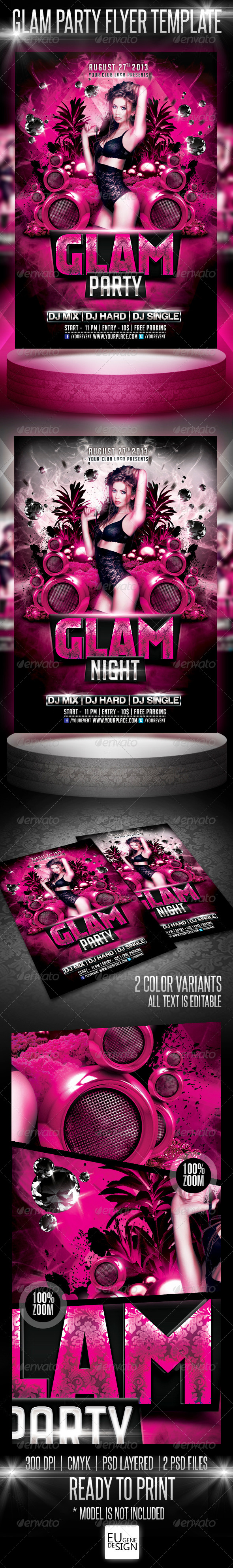 Glam Party Flyer Template - Clubs & Parties Events