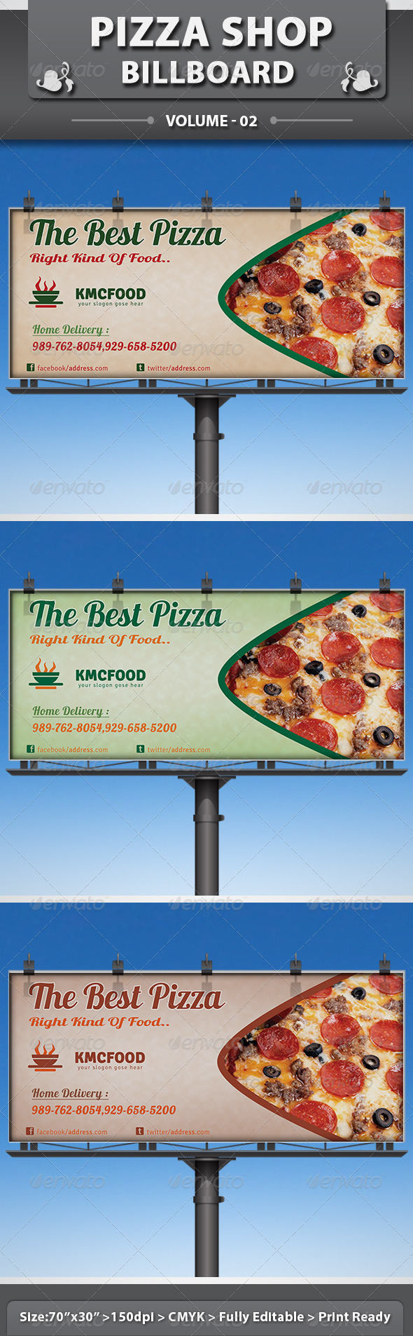 Pizza Shop Business Billboard - Signage Print Templates