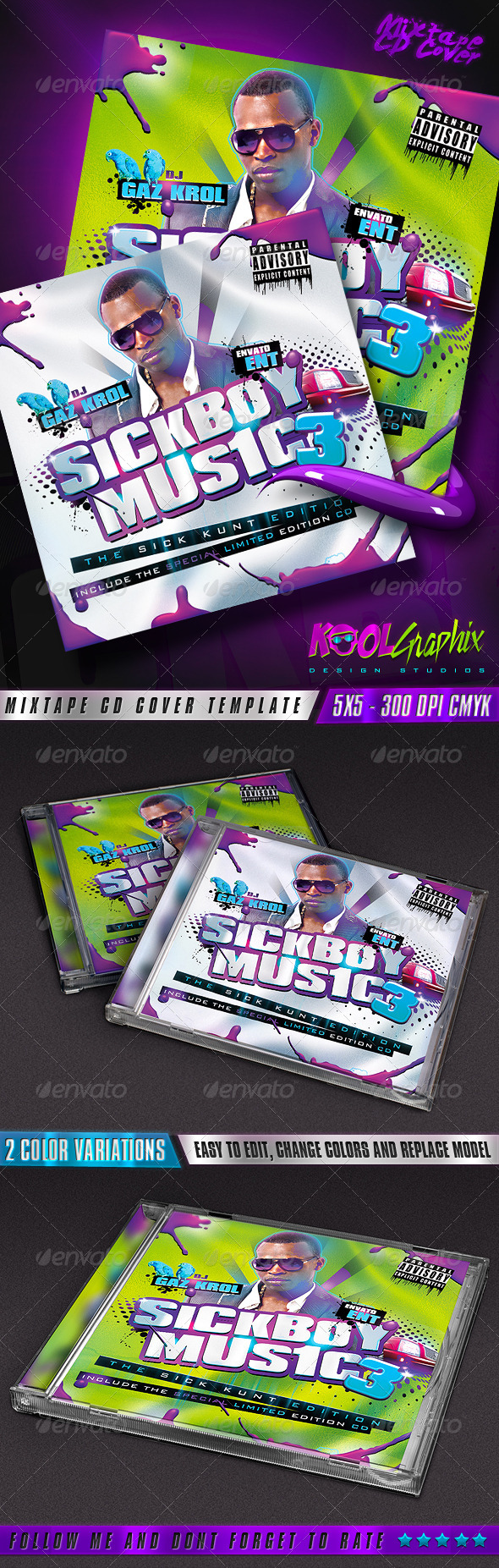 SickBoy Music - Mixtape CD Cover  - CD & DVD artwork Print Templates