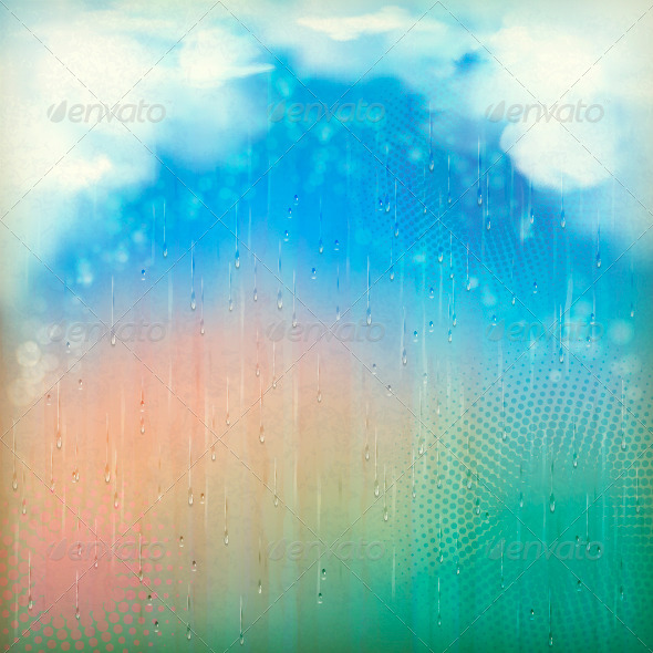 GraphicRiver Colorful Rain Vintage Abstract Retro Background 5276801