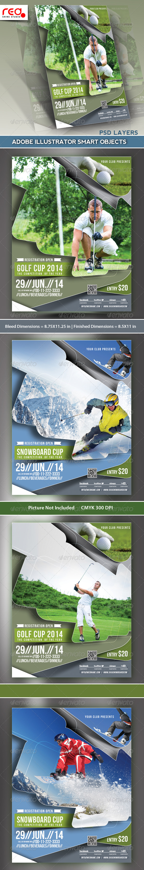 GraphicRiver Golf & Snowboard Cup Flyer Template 5276976