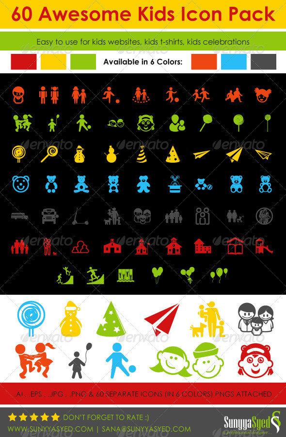 GraphicRiver 60 Awesome Kids Icon Pack 5266192