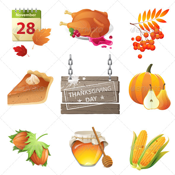 GraphicRiver Thanksgiving Day Icons 5278156