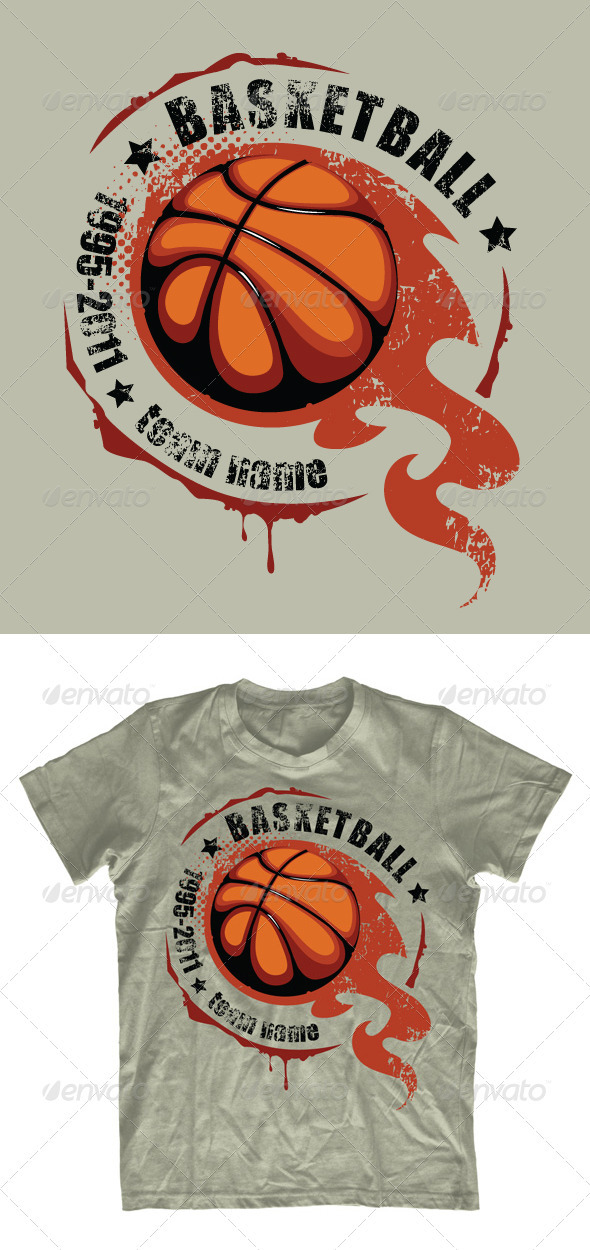 Grunge basketball T-shirt design - Sports & Teams T-Shirts