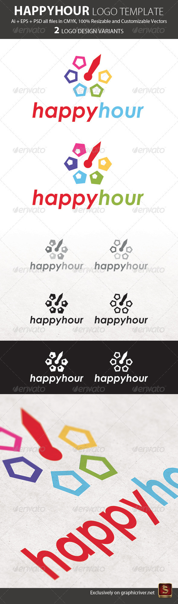 Happy Hour Logo Template - Abstract Logo Templates