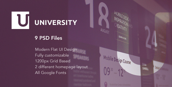 University – is a flexible flat UI PSD template for educational organizations. It will perfectly suit the needs of any modern university, college, school