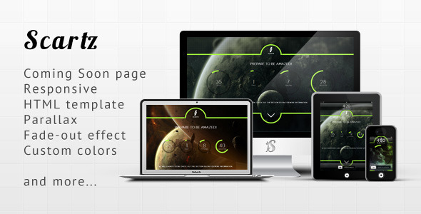 Scartz - Responsive Parallax Coming Soon Template - Under Construction Specialty Pages