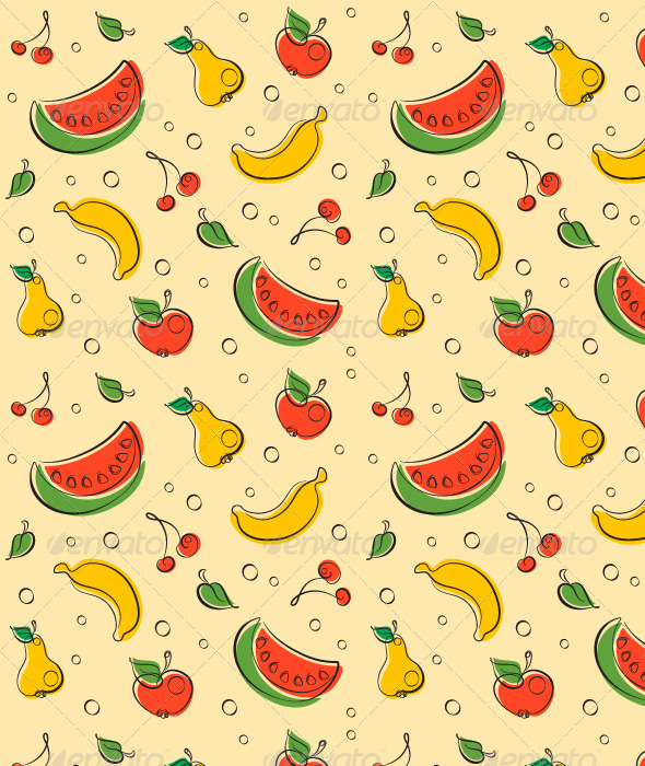 GraphicRiver Drawn Outline Fruit Pattern 5281511