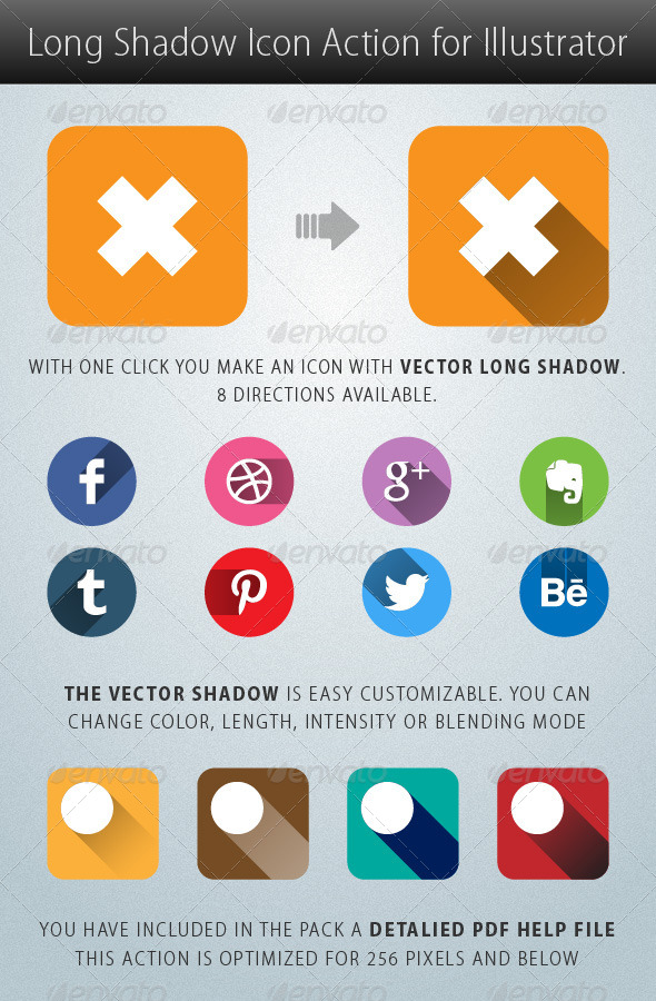 GraphicRiver Long Shadow Icon Action for Illustrator 5281590