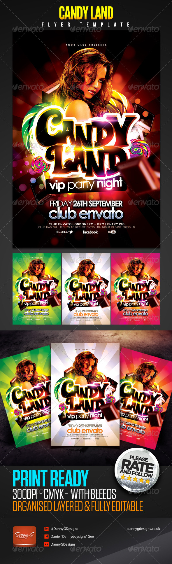 Candy Land VIP Party Night Flyer Template - Clubs & Parties Events