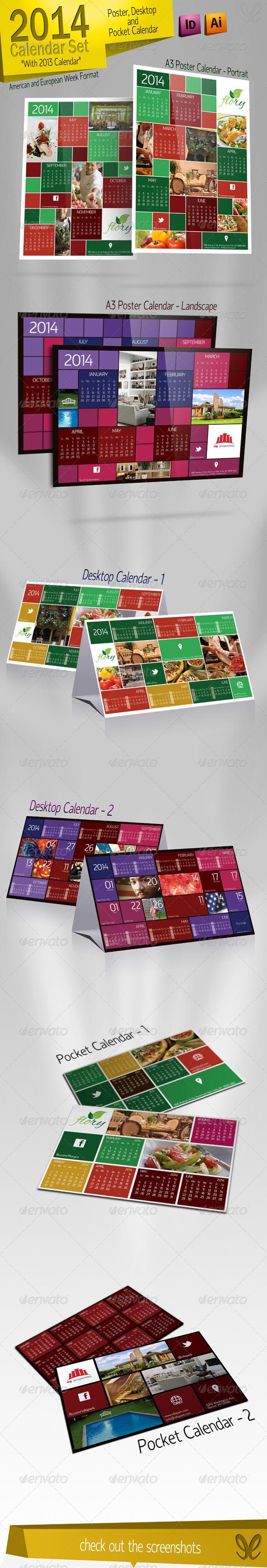 GraphicRiver 2014 Calendar Set Kare 5233216